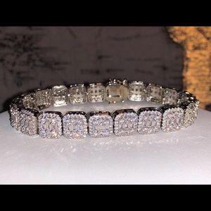 Baguette tennis bracelet 8.5 inch long lab diamond